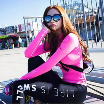2017 New Arrival High Quality Long Sleeves Rash Guard Diving Suits+ Pants Two-Piece Suit Sun Protective Swimwear Women Surf Clothing- intl - 2