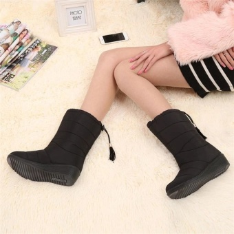 2017 New Arrival Winter Women Snow Boots Fashion Medium Tube Slope with Warm Plus Velvet Boots Waterproof Anti-slip with Tassels 35-40 (black) - 2