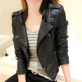 2017 New Autumn PU Leather Jacket Women Short Design Slim Long Sleeve Zipper Leather Jackets - intl