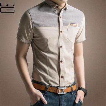 2017 New Fashion Casual Men Formal Shirt Short Sleeve Patchwork Slim Fit Shirt Men High Quality Cotton Mens Dress Shirts Men Clothes (Khaki) - intl