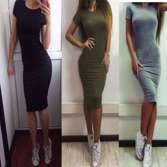 2017 New Fashion Casual Summer Autumn Women Dress Elegant LadiesSexy Solid Color Short Sleeve Office Dresses Female Vestidos 4colors-Army Green Women Size XL - intl