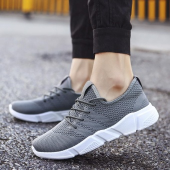 2017 New Fashion Outdoor Sport Shoes for Man Lower Cut Fly Weave Breathable Leisure Shoes (grey) - intl - 2