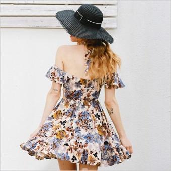 2017 New Hollow out beach party dresses Halter off shoulder summer dress women Floral print high waist sexy dress vestidos - intl - 3