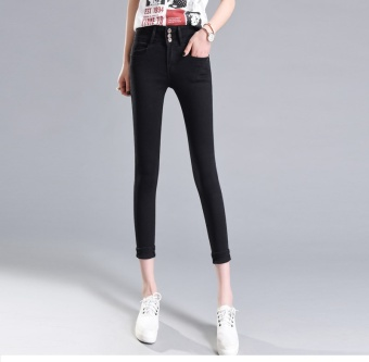 2017 New Korean Women Fashion High Waist Stretchy Skinny Plus SizePreppy Style Cropped Denim Pants Washed Jeans for Ladies (Black) -intl