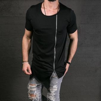 2017 New Men's Fashion Show Stylish Long T shirt Asymmetrical SideZipper Big Neck Short Sleeve T-shirt Male Hip Hop Tee (Black) -intl