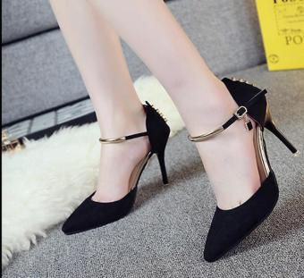 2017 new pointed fine with sexy high-heeled shoes 9 CM -BLACK -intl