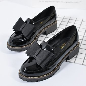 2017 New Spring Autumn British Style Casual Flats Women Shoes SolidFringe Ladies Girls School Patent leather Loafers Slip-On SingleShoes L17196 (Black) - intl