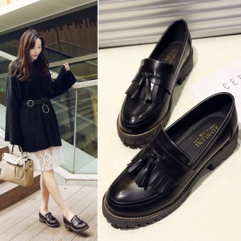 2017 New Spring Autumn British Style Casual Flats Women Shoes SolidFringe Ladies Tassel Loafers Slip-On Single Shoes L17195(Black) - intl