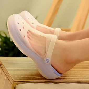 2017 New Style Fashion Woman Summer Change Color Sandals CrocHollow Beach Shoes Leisure Girls Jelly Female Garden ShoesGift(purple) - intl