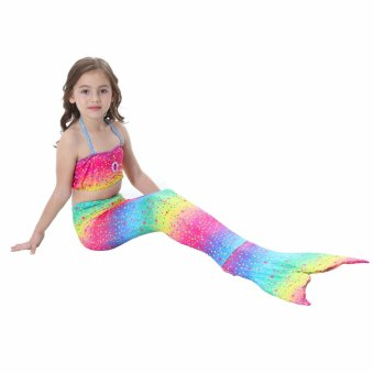 2017 New Style Summer 4-8Y Children Girls Rainbow Mermaid Tail Princess 3pcs/set Swimsuit Kids Bathing Suit Costume S003 - intl