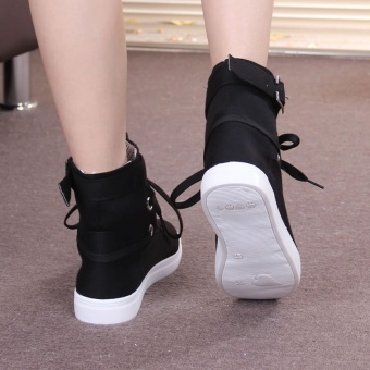 2017 new winter women's boots flat tie belt decoration high canvasshoes to help women all-match female boots - intl - 2