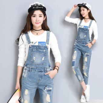 2017 Preppy Jeans Jumpsuit Spring Casual Vintage Ripped Holes Pants- intl
