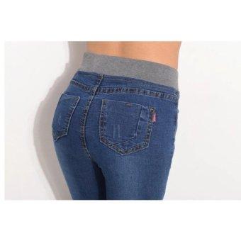 2017 Sexy Jeans Women Casual Waist Elastic Denim Long Pencil Pants Lady Trousers Plus Size(Dark blue) - intl - 4