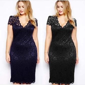2017 Summer fashion sexy lace pencil office work dress women (Dark blue color deep blue) (Dark blue color deep blue)