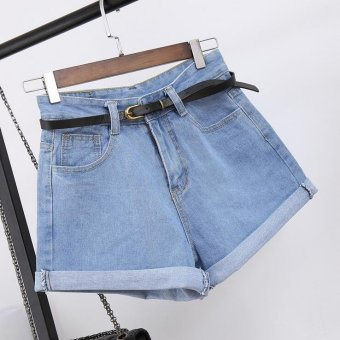 2017 Summer female high waist denim shorts crimping wide leg loosethin Women Short Jeans -Light blue - intl