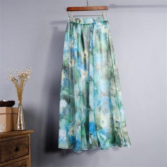 2017 Summer New Fashion Vintage Bohemia Chiffon Floral PrintedWomen Boho Floor-Length Long Maxi Beach Party Loose Flare Skirt(skyblue) - intl - 2