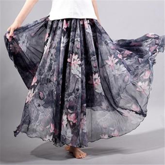 2017 Summer New Fashion Vintage Bohemia Chiffon Floral PrintedWomen Boho Floor-Length Long Maxi Beach Party Loose Flare Skirt(skyblue) - intl - 5