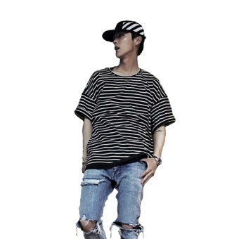 2017 Summer Street Men Striped T-shirt Justin Bieber Purpose TourLoose Short Sleeve Casual T Shirt -black - intl