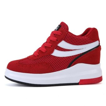 2017 Summer Women Fashion Sneakers Ladies Mesh Breathable HollowOut Wedges Shoes Inner Heightening Shoes Platform Casual SportShoes ( Red ) - intl - 2