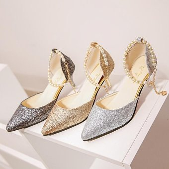 2017 Summer Women Thin Kitten Heels Pumps Woman Slip on Pointed ToeAnkle Bead Strap Sandals Heel High 6cm Silver Color - intl - 3