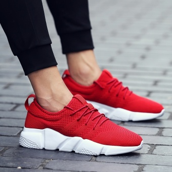 2017 the New Trend of Korean Male Shoes All-match Sports Casual Shoes Men's Shoes Breathable Shoes in Summer Red - intl