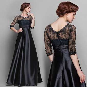 2017 Women Dress Casual Summer Dress Elegant Long Sleeve NewFashion Bohemian Wedding Dress Party Solid Evening Dress Black Lace- intl