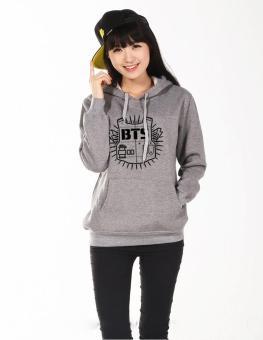 2017 Women hoodie sweatshirt Clothing Hoody Sweatshirts BTS Cotton Black Red Grey Sweatshirts Women Long Sleeve Hoodies jacket(Grey) - intl - 2