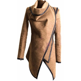 2017 Women New Fashion Autumn Winter Wool Coats Jackets Lady Slim Fit Warm Trench Coat Outwear Parka Overcoat-Khaki - intl - 2