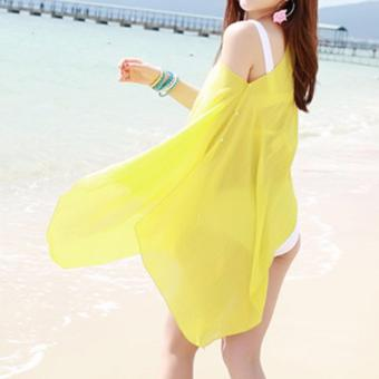 2017 Women Sexy Swimsuit Bathing Suit Beach Wear Cover Up (Yellow) - 2