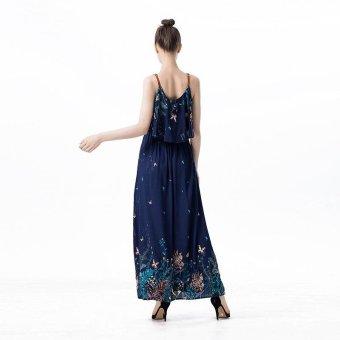 2017 Women Summer New Long Maxi dress floral Dress Sleeveless Beach Sling dress boho style Blue - intl - 3