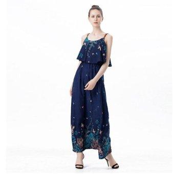 2017 Women Summer New Long Maxi dress floral Dress Sleeveless Beach Sling dress boho style Blue - intl - 2
