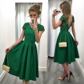 2017 Women Summer Sexy Gown Prom Party Dress Casual Dresses (Green) - intl