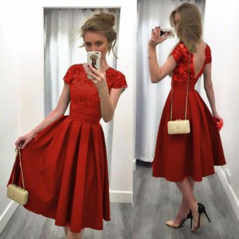 2017 Women Summer Sexy Gown Prom Party Dress Casual Dresses (Red) - intl