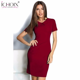 2017 Womens Elegant dress Vintage Contrast Patchwork Casual Wear To Work Office Pencil Sheath Solid Color Short Sleeve dress - intl