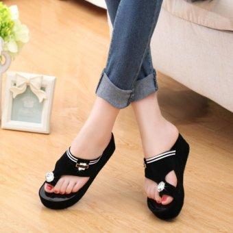 2017 Women's Platform Shoes Toe Clip Heeled Sandals Summer ShoesBling Rhinestone Sandals Outdoor Slippers Black - intl - 3