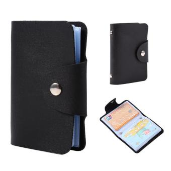 24 Slots ID Credit Card Holder PU Leather Pocket Wallet (Black) - intl