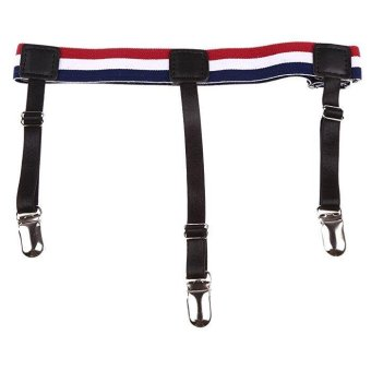 2pcs Men Punk Shirt Stays Holders Elastic Garter Belt with Non-slipLocking Clamps #3 - intl Price Philippines