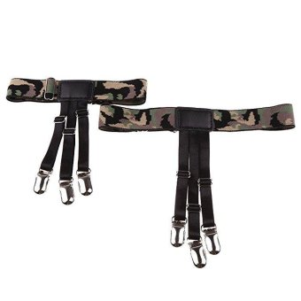 2pcs Mens Non Slip Punk Shirt Stay Holders Elastic Garter BeltLocking Clamps Camouflage #1 - intl Price Philippines
