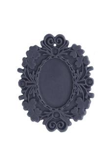 2pcs Resin Vintage Style Flower Cabochon Beads 48.5x37x3mm Violet