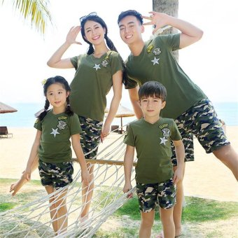 2PCS/Set Family Matching Beach Costume Clothes Camouflage PrintedShort T-shirts + Pants(Kids) - intl