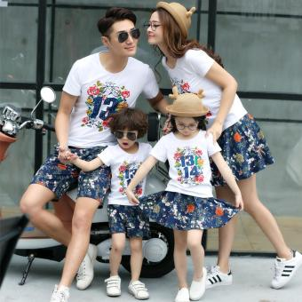 (2PCS/SET Mom)Summer Floral Outfit T-shirt+Skirt Dress Family LookMatching Clothes- intl