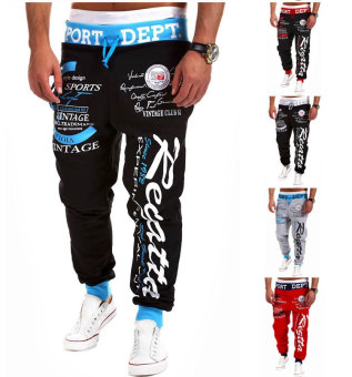 'Men''s Fashion Casual Letters Printed Patch Pocket Sports Bundle Foot Cotton Sweat Absorbent Pants Trousers Joggers(Color:Black2)' - 4