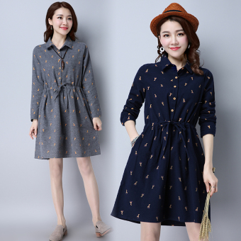 3D Linen New style loose Print a word skirt dress (Dark blue)