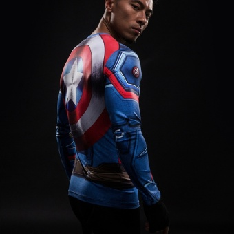 3D Printed T-shirts Captain America Compression Shirt Long SleeveCosplay Costume Clothing Tops Male Halloween Costumes For Men -intl - 4