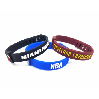 3pcs Sports Silicone Bracelets Pro Adjustable Basketball BraceletsBaller Bands Basketball team Cleveland Cavaliers&Miami Heat -intl