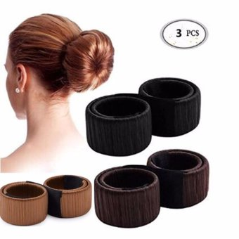3pcs Women Hair Bun Maker Donut Hair Styling Accessories Tools -intl