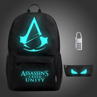 (3PCS/SET Backpack+Pouch+Lock) Glow in the Dark Night Light SchoolBag Travel Luminous Backpack (Big Assassin) - intl Price Philippines