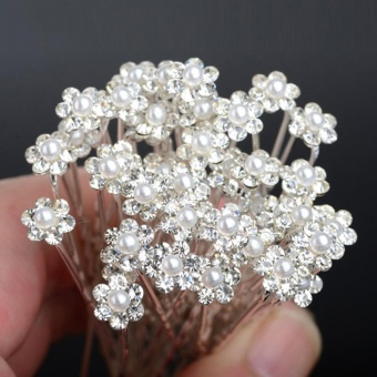 40 Pcs Wedding Hair Pins Crystal Pearl Flower Bridal Hairpins Hair Accessories - intl
