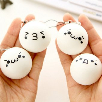 4CM Jumbo Cute Expression Squishy Soft White Bun Phone Charms BunStrap - intl