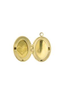 5pcs Brass Oval Pendants Photo Locket Jewelry Findings - picture 2